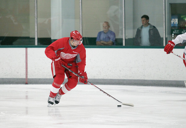 Record-Eagle/Keith King<br /> Xavier Ouellet skates Wednesday, July 10, 2013 during the Detroit Red Wings skill development camp at Centre ICE in Traverse City.