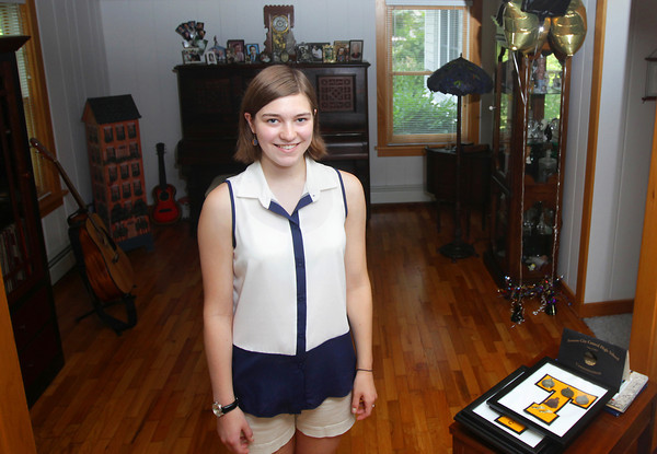 Record-Eagle/Keith King<br /> Skylar Thompson, of Traverse City, stands for a photo Thursday, July 18, 2013 at her home in Traverse City. Thompson, a recent graduate of Traverse City Central High School, has achieved perfect attendance through her public school career.