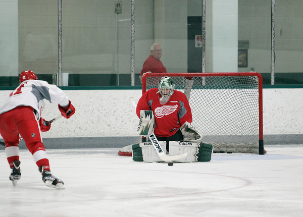 Record-Eagle/Keith King<br /> Goalie Jake Patterson Wednesday, July 10, 2013 during the Detroit Red Wings skill development camp at Centre ICE in Traverse City.