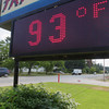 Record-Eagle/Keith King<br /> A temperature reading is displayed Tuesday, July 16, 2013 on a sign at Tri-Gas Distributing Company on Barlow Street in Traverse City.