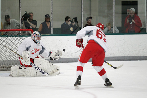 Record-Eagle/Keith King<br /> Goalie Jake Paterson stops the puck Wednesday, July 10, 2013 during the Detroit Red Wings skill development camp at Centre ICE in Traverse City.