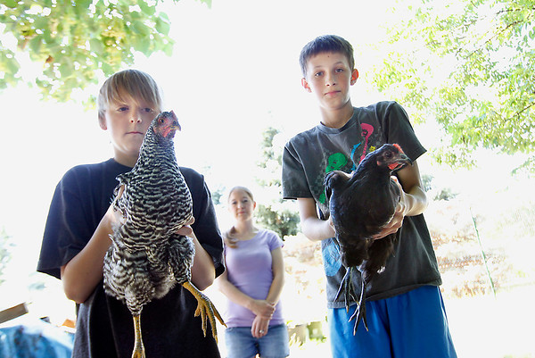 Record-Eagle/Jan-Michael Stump<br /> Sarah Johnson stands behind her son, Darius Johnson, 12, right, and neighbor Jordan Hanna, 10, in her backyard where they keep chickens, which is a source of contention between the family and Blair Township officials.