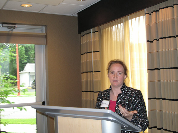 Record-Eagle/Glenn Puit <br /> Valerie Brader, a top energy adviser to Gov. Rick Snyder, speaks at a gathering of business leaders convened by the Traverse City Area Chamber of Commerce Wednesday at Cambria Suites.