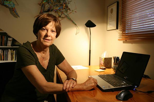 Fleda Brown at her writing desk.