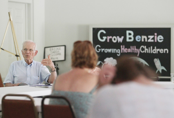 "Record-Eagle/Keith King<br /> Ron Steiner, director of The Starting Block, a kitchen incubator in Hart, speaks Wednesday, July 17, 2013 at Grow Benzie as part of a workshop about the incubator kitchen at Grow Benzie with the workshop themed ""How to Start Your Own Food Products Business."""