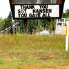Record-Eagle/Jan-Michael Stump<br /> A sign honoring Kingsley native Marine Corps Sgt. Justin Hansen stands along U.S. 31 south of Traverse City Thursday. Sgt. Hansen was killed during combat actions Tuesday, July 24, 2012 in northern Afghanistan.