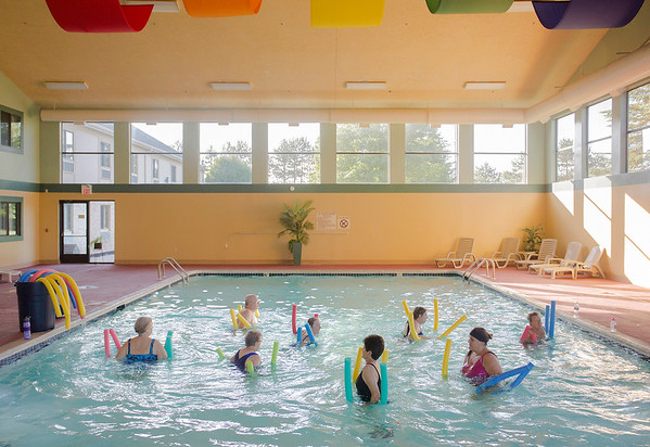 Special to the Record-Eagle/Keith King<br /> Participants take place in aqua fitness Friday, July 7, 2017 at All Seasons Hotel and Resort in Kalkaska.