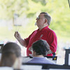 Record-Eagle/Keith King<br /> John Beery directs the Northwestern Michigan College (NMC) Summer Community Band on what he plans to be his last night directing the band Thursday, August 1, 2013 during the Concert on the Lawn at the Grand Traverse Pavilions. Beery has directed the band for 16 years and has directed bands for 50 years. Concert on the Lawn is scheduled to take place every Thursday (subject to change due to weather) at 7:00 p.m. through August 29 at the Grand Traverse Pavilions.
