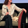 Record-Eagle/Jan-Michael Stump<br /> Susan Sarandon (with her dog, Penny) and Michael Moore talk during a Traverse City Film Festival panel Wednesday at the City Opera House.