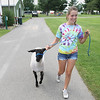 Record-Eagle/Keith King<br /> Kaylee Walters, 13, of Traverse City, walks with her lamb, Chester, after Chester was sheared, as they make their way toward the scale to weigh Chester Tuesday, July 31, 2012 in preparation for the Northwestern Michigan Fair. The Northwestern Michigan Fair is scheduled for August 4 through August 11.
