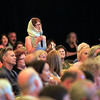 """Record-Eagle/Jan-Michael Stump<br /> Anni Macht-Gibson of Traverse City asks a question while dressed for an upcoming screening of """"Thelma and Louise,"""" during Wednesday's Traverse City Film Festival panel  with Susan Sarandon and Michael Moore at the City Opera House."""
