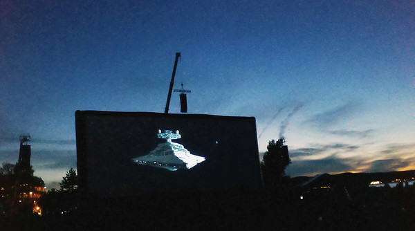 """Record-Eagle/Jan-Michael Stump<br /> """"The Empire Strikes Back"""" plays on the 100-foot-wide screen at the Open Space during the Traverse City Film Festival."""