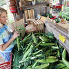 Record-Eagle/Keith King<br /> Missy Huiskens, of Traverse City, selects sweet corn Friday at Edgecomb's Farm Market in Garfield Township.