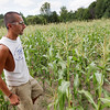 Record-Eagle/Keith King<br /> Brent Edgecomb, who owns the family farm with his father, Dean, walks near a field of sweet corn Friday at the farm in Garfield Township.