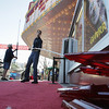 Record-Eagle/Keith King<br /> Chris Bowman removes letters prior to putting up new ones at the State Theatre in downtown Traverse City during the Traverse City Film Festival.
