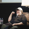 "Record-Eagle/Keith King<br /> Michael Moore shares stories from his book ""Here Comes Trouble"" on Saturday during the Traverse City Film Festival ""Mike's Surprise"" event at Lars Hockstad Auditorium."