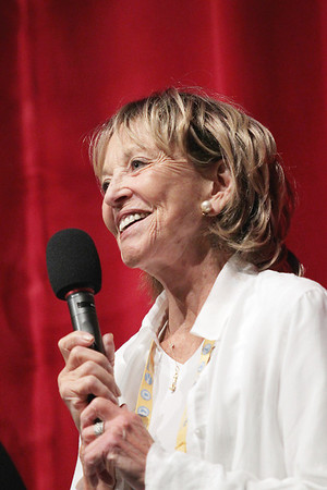 Record-Eagle/Keith King<br /> Sue Marx accepts the 2011 Michigan Filmmaker Award on Saturday during the Traverse City Film Festival Awards Ceremony at the State Theatre.