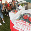 """Record-Eagle/Keith King<br /> T-shirts, with the art of Adam VanHouten titled, """"Cherries Two,"""" which won the National Cherry Festival annual poster contest, are displayed for sale at the festival souvenir tent during the 88th National Cherry Festival."""
