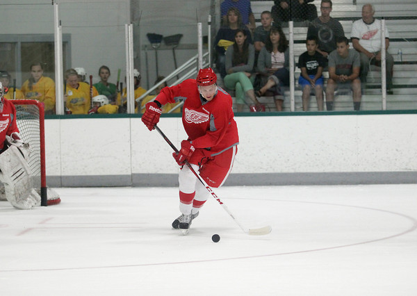 Record-Eagle/Keith King<br /> Anthony Mantha skates Wednesday, July 10, 2013 during the Detroit Red Wings skill development camp at Centre ICE in Traverse City.