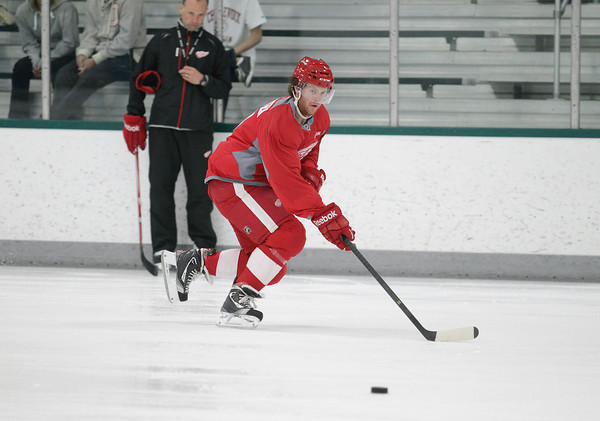 Record-Eagle/Keith King<br /> Nick Jensen skates Wednesday, July 10, 2013 during the Detroit Red Wings skill development camp at Centre ICE in Traverse City.