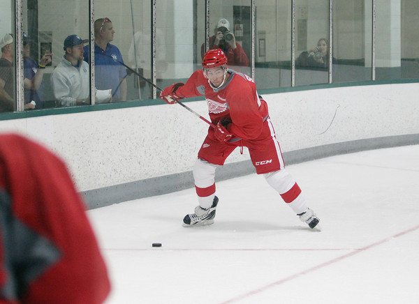 Record-Eagle/Keith King<br /> Ryan Sproul skates Wednesday, July 10, 2013 during the Detroit Red Wings skill development camp at Centre ICE in Traverse City.
