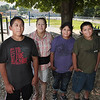 Record-Eagle/Keith King<br /> From left, Jesus Garcia III, 14, Diana Garcia, Isabel Garcia, 11, and Angel Garcia, 9, stand at the St. Mary Community Playground in Lake Leelanau.