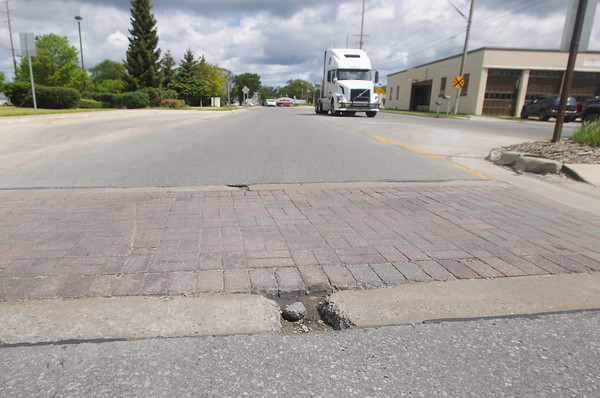 Record-Eagle/Keith King<br /> A brick crosswalk on Woodmere Avenue near Beitner Street in Traverse City.