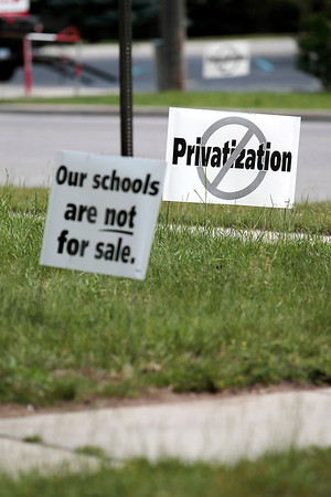 Record-Eagle/Jan-Michael Stump<br /> Kingsley Area Schools is considering privatizing custodial, food service and busing operations, which some community members are oppose.