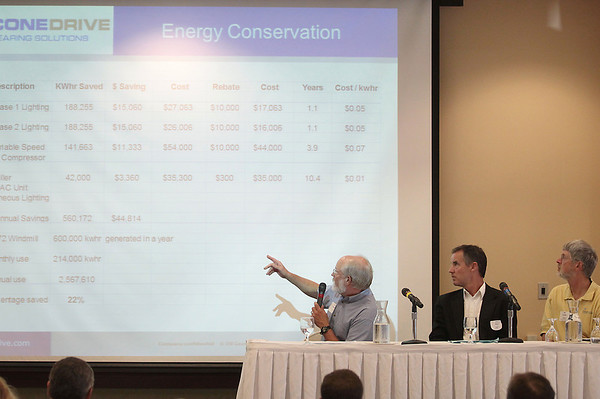 Record-Eagle/Keith King<br /> Pete Ostrowski, left, facilities manager at Cone Drive, explains Cone Drive's energy conservation while sitting next to John Kinch, with Michigan Energy Options, and Jim Cooper, with Traverse City Light and Power, during a panel discussion on Thursday at the energy efficiency leadership summit at the Hagerty Center.