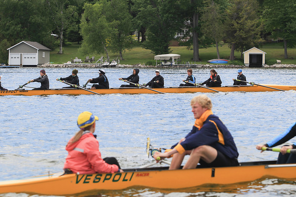 Record-Eagle/Keith King<br /> Members of Recovery on Water (ROW), for women surviving breast cancer, row on Lake Leelanau with instruction from members of the University of Michigan men's rowing team during the ROW Blue rowing camp hosted by Fountain Point Resort and the Lake Leelanau Rowing Club. The University of Michigan men's rowing team recently won its seventh consecutive American Collegiate Rowing Association national championship.