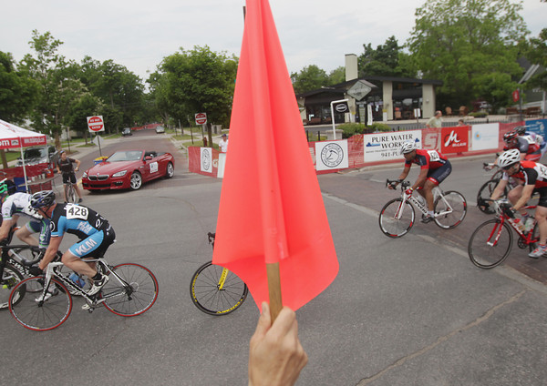 Record-Eagle/Keith King<br /> Racers travel on South Union Street Saturday, June 15, 2013 during the Cherry-Roubaix Old Town Criterium Men Cat 4 race in Traverse City.