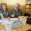 Record-Eagle/Keith King<br /> Carol Tompkins-Parker, left, co-chair of the Class of 1973 reunion committee, and John Robert Williams, also a member of the committee, work on planning Wednesday, June 12, 2013 for the reunion.