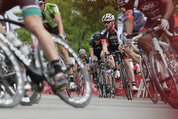 Record-Eagle/Keith King<br /> Racers travel on South Union Street toward West Ninth Street Saturday, June 15, 2013 during the Cherry-Roubaix Old Town Criterium.