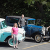 Record-Eagle/Jan-Michael Stump<br /> From left, teammates Kacy Smith and Tabetha Salsbury with their 1962 International Travelette, and Davin Reckow and Jonathan Klinger with their 1930 Ford Model A, all of Hagerty Insurance, will be among the participants in a nine-day, 2,300 mile rally that starts in Traverse City June 23 and travels though Canada around Lakes Huron, Ontario and Erie before finishing in Dearborn. The Great Race features vintage cars driven by teams using a precise set of directions to reach check points without the use of GPS, odometer or digital timepieces.
