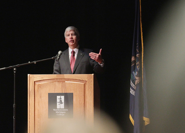 Record-Eagle/Keith King<br /> Michigan Gov. Rick Snyder speaks Monday, June 3, 2013 during the memorial service for former Michigan first lady Helen Milliken in Milliken Auditorium at Northwestern Michigan College's Dennos Museum Center in Traverse City.