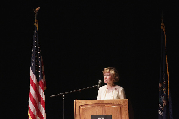 Record-Eagle/Keith King<br /> Joyce Braithwaite-Brickley, close friend of former Michigan first lady Helen Milliken and longtime advisor to Milliken's husband, former Michigan Gov. William Milliken, speaks Monday, June 3, 2013 during the memorial service for former Michigan first lady Helen Milliken in Milliken Auditorium at Northwestern Michigan College's Dennos Museum Center in Traverse City.