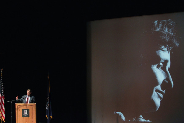 Record-Eagle/Keith King<br /> Bill Milliken Jr. speaks Monday, June 3, 2013 during the memorial service for his mother, former Michigan first lady Helen Milliken, in Milliken Auditorium at Northwestern Michigan College's Dennos Museum Center in Traverse City.