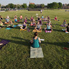 Record-Eagle/Keith King<br /> Summer Solstice Yoga on the Beach takes place Friday, June 21, 2013 at the Open Space in Traverse City. The event is a kickoff to Yoga on the Beach sessions which are scheduled through August 16. For times and locations of Yoga on the Beach visit yogabeachparty.com