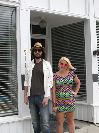 Record-Eagle/Bill O'Brien<br /> Dustin Jones, left, and his sister, Kirsten Jones, stand outside the Union Street building where they will locate their new brewery Ferment, opening this summer.