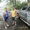 Record-Eagle/Keith King<br /> Patrick Fancy, left, and Jeff Fancy, owners of Fancy PWC Watercraft Rentals, stand after pulling a jet ski onto a trailer at Silver Lake after a customer rented the jet ski.