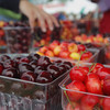Record-Eagle/Keith King<br /> Sweet cherries are displayed for sale at an Edmondson Orchards tent Saturday, June 29, 2013 during the 87th annual National Cherry Festival.