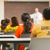 Record-Eagle/Keith King<br /> <br /> Inmates attend a life skills class, taught by Dr. Craig Hexham, Thursday at the Grand Traverse County jail in Traverse City.