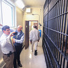 Record-Eagle/Keith King<br /> Mark Goldman, from left, and Jim Robertson, consultants with the National Institute of Corrections, take a tour Wednesday of the Grand Traverse County Jail.