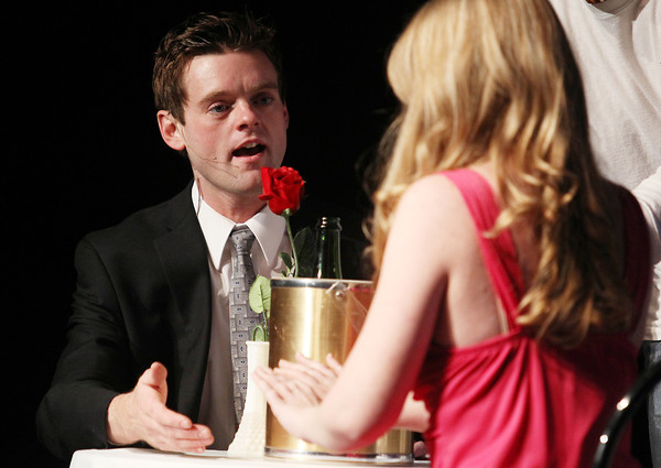 """Record-Eagle/Keith King<br /> Derek Woodruff, playing the part of Warner Huntington III, rehearses a scene at the Old Town Playhouse Monday, February 25, 2013 for """"Legally Blonde, the Musical."""" Performances of the show are scheduled to begin March 1."""