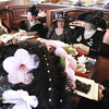 Record-Eagle/Keith King<br /> Christine Schoech, from left, of Traverse City, Kathie Fralick, of Lake Leelanau, Marge Panek, of Cedar and Helen Cussins, of Traverse City, as well as other members of the Black Diamond Lilies meet Friday, February 22, 2013 for lunch at Copper Falls Steakhouse in Traverse City.