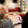 Record-Eagle/Keith King<br /> The hands of Kathie Fralick, of Lake Leelanau, lie on a table as members of the Black Diamond Lilies meet Friday, February 22, 2013 at Copper Falls Steakhouse in Traverse City.