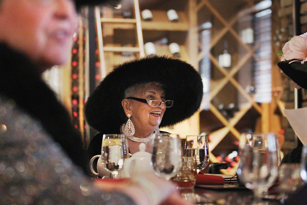 Record-Eagle/Keith King<br /> Joan Julin, of Traverse City, laughs while she and her fellow members of the Black Diamond Lilies meet Friday, February 22, 2013 for lunch at Copper Falls Steakhouse in Traverse City.