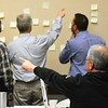 Record-Eagle/Dan Nielsen<br /> Participants in a breakout session sort group-generated ideas about innovation during the Grand Traverse Area Manufacturing Council 2017 Summit.