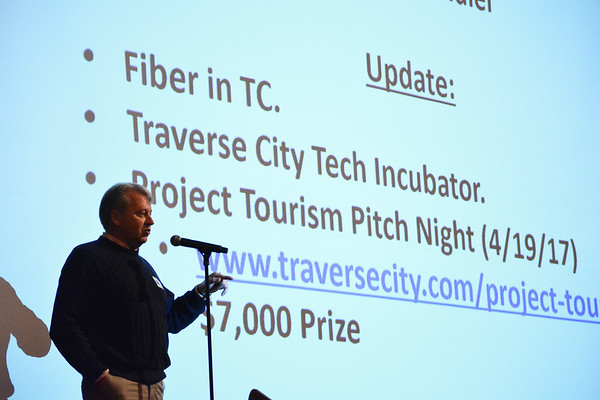 Record-Eagle/Dan Nielsen<br /> TC New Tech organizer Russell Schindler talks about activity inTraverse City that has technical ties.