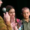 Record-Eagle/Jan-Michael Stump<br /> Nicole Blakkan-Esser reacts after winning the 2011 Grand Traverse Regional Spelling Bee.
